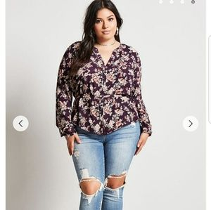 🛍Belted floral blouse